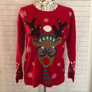 💜United States Sweaters red acrylic reindeer bell